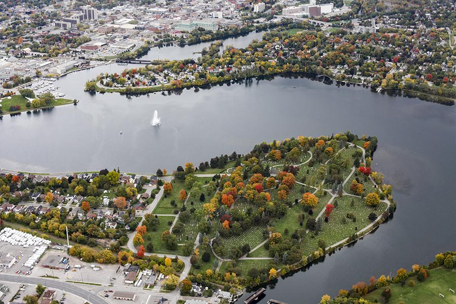 Aerial of river in Peterborough Ontario