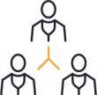 Trust icon with three people connected